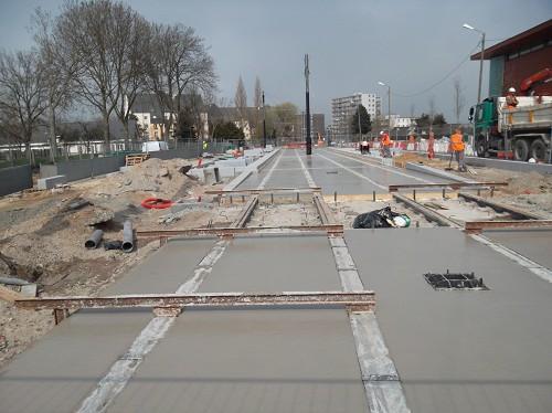 Tram du Havre - Coulage de béton