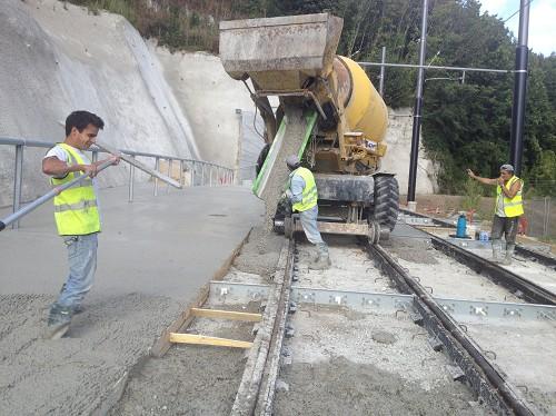Béton sur plate forme voies - TRAM DU HAVRE 2012