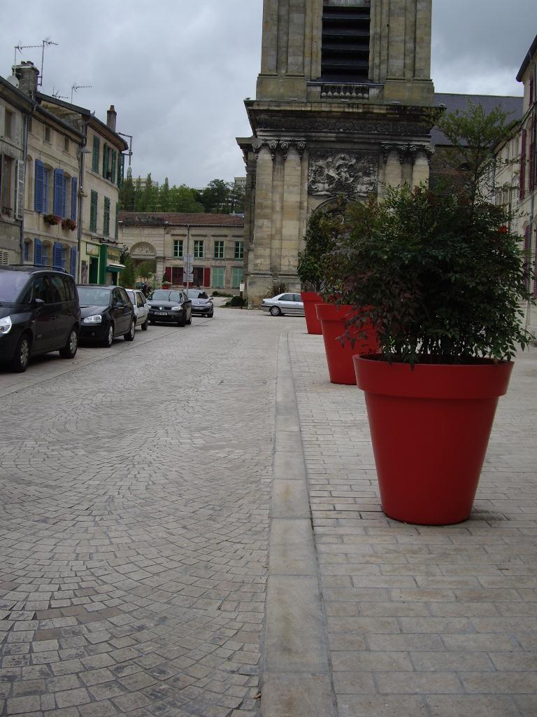 Pavés calcaires 30-16-8 sur trottoirs et pavés calcaires portugais en queue de paon sur rue - BAR LE DUC - 2011